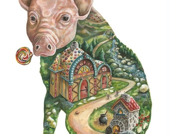 The Piglet's Tale archival giclee print 12 X 16 OR 16 X 20
