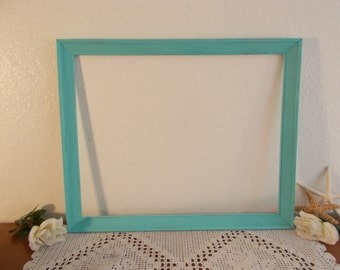 Large Mint Blue Green Picture Frame 16 x 20 Photo Decoration Up Cycled Vintage Wood Rustic Shabby Chic Beach Cottage Seaside Home Decor Gift