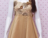 READY STOCK - Upper Knee Gold Satin Dress With Gold Flower And Leaf Detail - Gold Dress For Girls - Girls Birthday Dress - Gold Party Dress