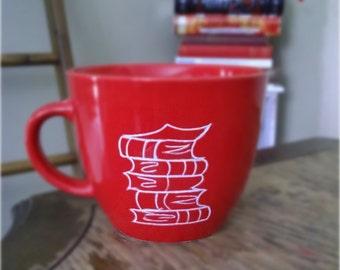 Book Lover Red Book Stack Mug
