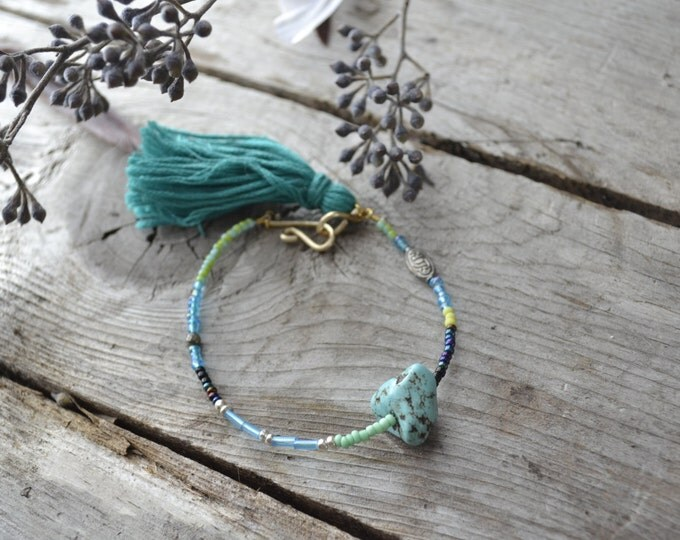 turquoise seed bead tassel bracelet, gemstone friendship jewelry, gifts for best friends, for sisters, bohemian wedding bridesmaid gifts
