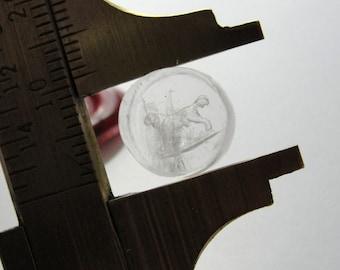 Antique wax seal intaglio glass paste Dog - Victorian engraved intaglio with retriever dog - 1800's seal