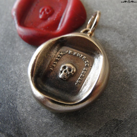 Skull Wax Seal Pendant - antique wax seal jewelry Memento Mori charm French motto - Remember Your Mortality by RQP Studio