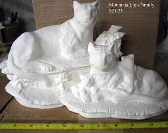 Large, Two piece Beautiful, Mountain Lion, Cougar Family, Cat family, Wildlife Scene, Lion and cubs,Ready to paint,Ceramic bisque,u-paint