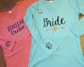 Bride and Bride Tribe Long Sleeve Vneck Shirt - Monogrammed Bachelorette Shirt