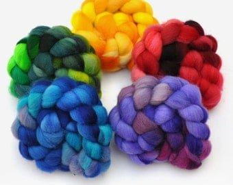 Hand Dyed Roving Rainbow 5-Pack - Shetland wool spinning fiber - 10 ounces