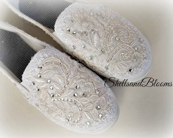 Wedding Bridal Flat Tennis Shoes - chic white lace - Rhinestone Pearls - eyelet trim - Shabby vintage inspired - sneakers oxfords