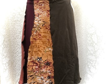 Recycled Tee Skirt, Upcycled Clothing, Summer Cotton Skirt, Large-XL, Patchwork, A-Line, #SK370
