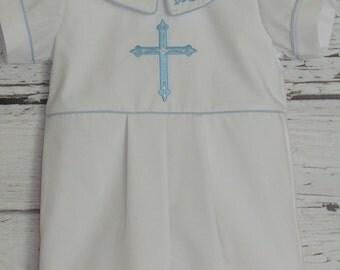 Baby Boy Baptism Romper Monogram Collar Christening Romper Blessing Outfit Baby Dedication Wedding Monogram Cross
