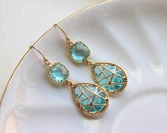 Blue Aquamarine Earrings Gold Twisted Design - Bridesmaid Earrings Wedding Earrings Bridesmaid Gift Wedding Jewelry Aquamarine Wedding