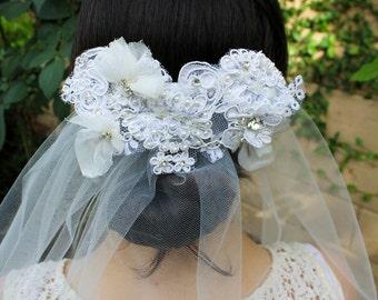 Ivory Fingertip Veil- Lace Veil Beaded Veil, Diamond White Veil Ivory Veil Pearl- Lace Wedding Veil- Lace Bridal Veil Fingertip Wedding Veil