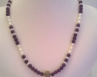 Amethyst and Freshwater Pearl Necklace with Sterling Silver Focal Bead and Clasp - 20 Inch Purple and White Necklace