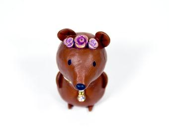 Springtime Bear Figurine  - One of a Kind Art Sculpture