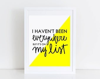 Travel Print Inspirational Quote Typography Artwork Girls Office Gallery Wall Black and Yellow Hand Lettered Print Travel Quote Wall Art