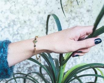 Triangle bracelet,  dark green and gold bracelet, triangle jewelry, chain bracelet green and gold
