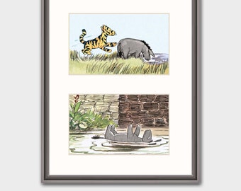 "Baby Nursery Wall Art w/Mat, Winnie the Pooh Decor (Eeyore Art, Tigger Print) Winnie-the-Pooh Print--- ""Tigger Bounces Eeyore"" Matted Print"