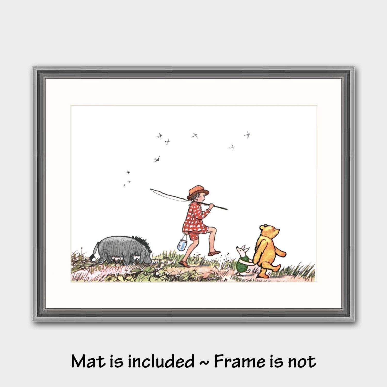 Classic Winnie the Pooh Nursery Decor w/Mat by CloudNinePrints