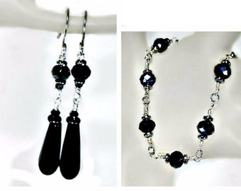 Jet Black Crystal n Onyx Bracelet n Earring Set, Swarovski, evening, dress jewelry, simple, distinctive, formal wear, long dangler earring