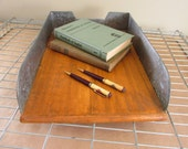 Vintage Rustic Wood Office Tray/Three Tin Sides/Oak Desk File Organizer/Industrial Office Decor/Oak and Tin Combination
