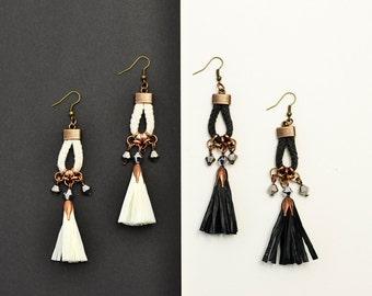 Tassel Earrings, Raffia Tassel, Black Tassel Earrings, White Tassel Chandelier, Drop Earrings, Boho Earrings, Tribal Earring, Hippie Earring