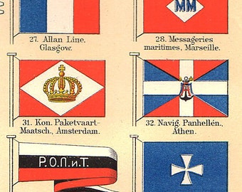 Ocean Shipping Flags 1890s vintage bookplate, Chart wall art vintage color lithograph illustration nautical