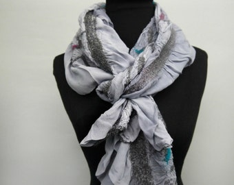 Nuno Felted Ruffle Scarf - Gray, Blue and Pink Zebra Print Scarf - Animal Print Silk Scarf - Made to Order