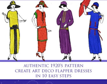 Easy 1 Hour Art Deco Dress Pattern Create A Vintage Downton Abbey Style 1920s Flapper Dress in 10 Easy Steps 29 Pages Instant Download