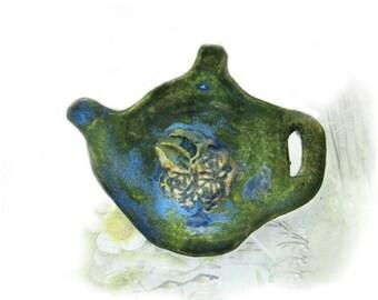 Pottery Dish, Teabag Dish,  tea,  ceramic tea bag holder, kitchen decor, ceramic Dish,  # 133