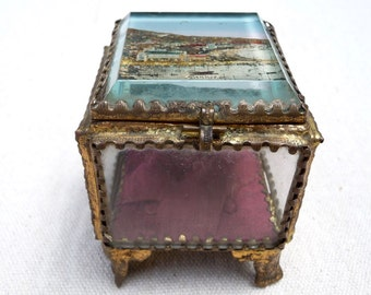 Antique French Jewelry Box Cannes Souvenir Beveled Glass Ring Box Casket French Trinket Box