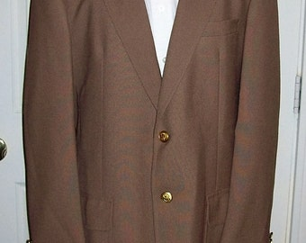 Vintage Men's Brown Sport Coat Blazer by Stanley Blacker Size 42 R Only 9 USD