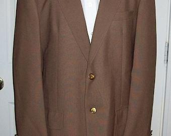 Vintage Men's Brown Sport Coat Blazer by Stanley Blacker Size 42 R Only 12 USD