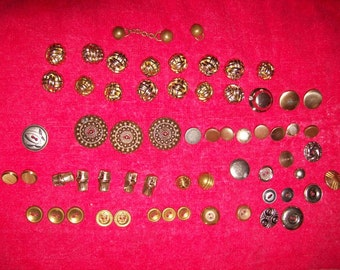Vintage Assorted Metal Buttons Brass & More ALL 60 for Just 5 USD