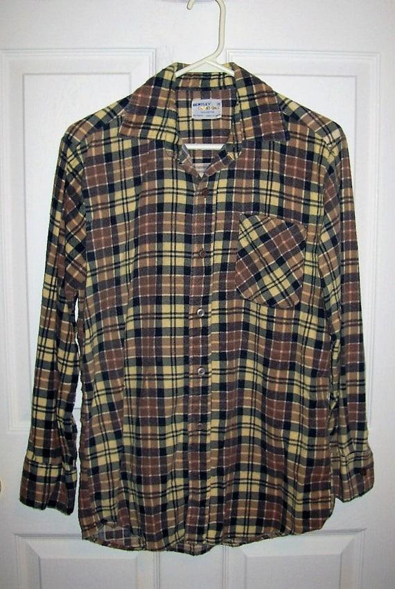 Vintage 1960s men 39 s brown yellow plaid flannel shirt for Mens yellow plaid flannel shirt