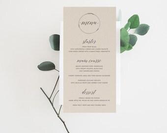 Wedding Menu, Printable Rehearsal Dinner Menu, Printable Menu, Calligraphy Menu, Wedding Menu, Kraft, Brunch Menu, Printable Menu, Template