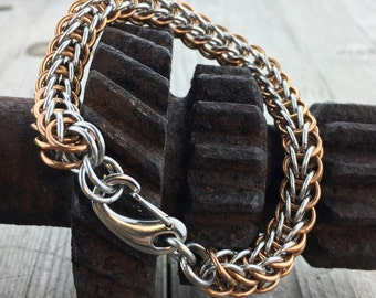 Stainless Steel and Bronze Chainmaille Bracelet - Ready to Ship