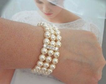 Pearl cuff Bracelet ~ 3 strand ~ Swarovski Pearl bracelet~ Pearl Statement bracelet ~ Brides bracelet ~ Chunky Pearl cuff bracelet, Stunning