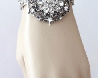 Brides bracelet ~ Snap on jewelry ~ Crystal statement bracelet ~ Snap on statement bracelet ~ CHUNKY~  Charm bracelet ~ Wedding bracelet