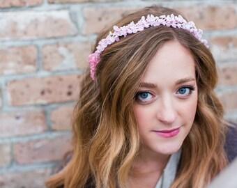 Pink flower crown, bridal crown, flower crown, summer, woodland, lilly of the valley, bridal hair, spring wedding, rose quartz, pink wedding