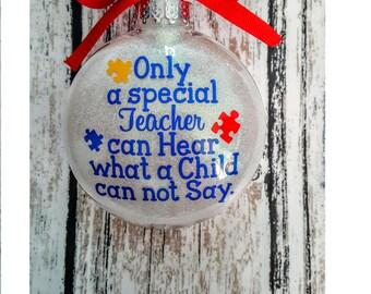 Autism Teacher Christmas Ornament, Autism Awareness Ornament, Special Teacher Christmas Ornament