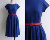 Vintage 80's Does 50's Cobalt Blue Cotton Linen Fit & Flare Dress XS or S