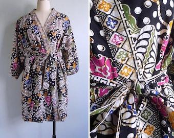 Vintage 80's Bohemian Batik Tie Dye Rayon Dressing Gown Robe XS S M L