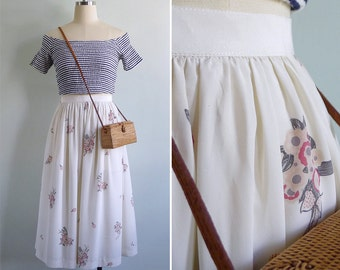 Vintage 80's 'Blossoming Bouquets' Cream Floral Midi Skirt XXS or XS