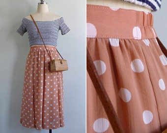 Vintage 80's Salmon Pink Polka Dot Skirt S or M