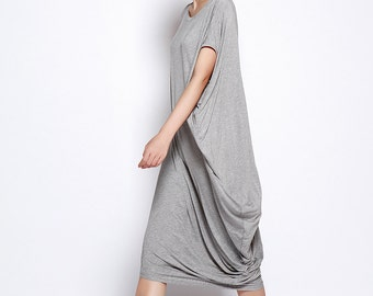 Asymmetric Sweatshirt Casual And Relaxed Pullover Short Sleeved T-shirt Dress Top For Women in Gray - NC691
