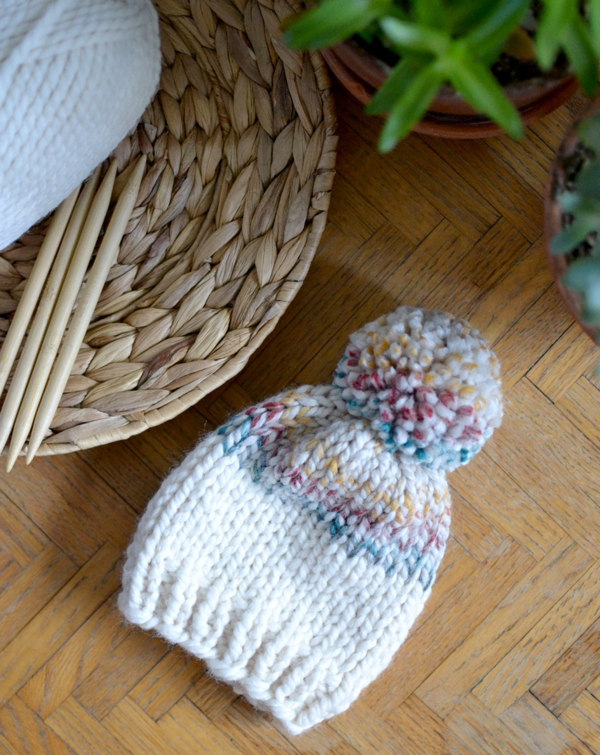 Knitted Kids Beanie // Color Block Baby Hat // Kids Winter Hat