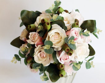 Pamona - Wedding Bouquet pale pink roses, gumnuts, spinning gum and magnolia foliage.