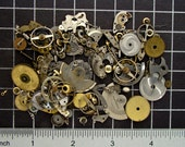 Mixed Vintage Watch Parts, Gears, Wheels, Balance Cocks, Plates, Hands, Crowns & Mainspring Barrels in Steel and Brass Art Supplies 04370