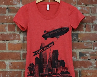 Ladies SUPER SOFT Vintage Feel Tee - 'World Is Yours' Cleveland on Red TriBlend