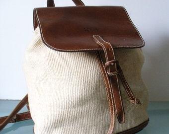 Calvin Klein Linen & Leather Feed Bag Bucket Purse