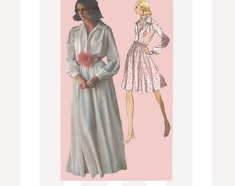 Pretty 1970s Womens Feminine Flared Evening Dress in Two Lengths Vogue 2880 Oscar de la Renta Size 10 Bust 32.5 UNCUT Vintage Sewing Pattern